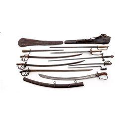 Lot: 9 Swords, 2 Rifle Scabbards, 1 Bayonet