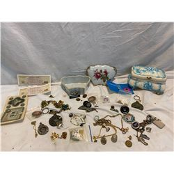 2 trinket boxes and misc. jewelry