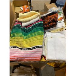 2 boxes linens and towels