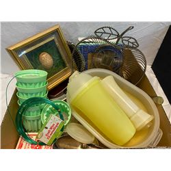 Box of Tupperware and collectibles