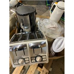 Misc kitchen small appliances, 4 slice toaster, coffee maker ect
