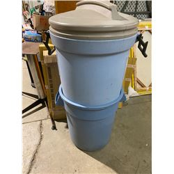 Group of garbage cans