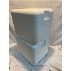 2 Styrofoam coolers with lids