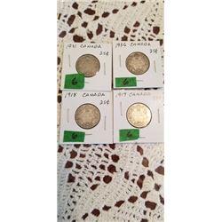 4 25 cent pieces 1918, 1919, 1931 & 1936