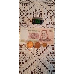 500 pesos note of chile 3 coins 100, 50, &5 pesos