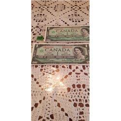 1967 CENTENIAL $1.00 NOTES CONSECUTIVE  BE/RA I/T5801152 & 53