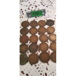 20 CANADIAN LARGE PENNIES 1882 TO 1920