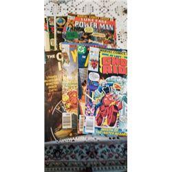 9 SUPER HERO COMICS & STACK OF COMICS WITH NO COVERS