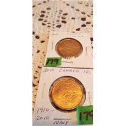 2 2010 $1.00 LOONIES OLYMPIC & NAVY CENTENIAL