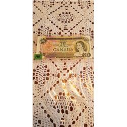 1969 BE/RA $20.00 NOTE NO FOLDS NICE SQ. CORNERS