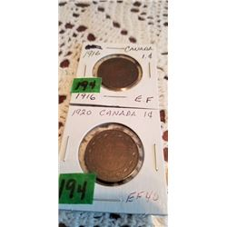 1916 &1920 LARGE PENNIES