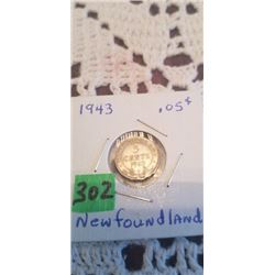1943 NFLD SILVER 5 CENT