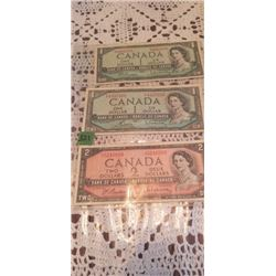 3 1954  NOTES 2 $1.00 & 1 $2.00