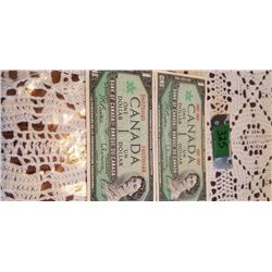 2 1967 $1.00 NOTES 1 WITH SERIAL # 1 WITHOUT