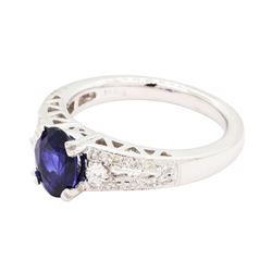 1.53 ctw Sapphire and Diamond Ring - 14KT White Gold