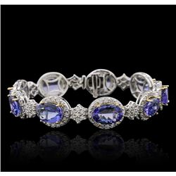 14KT Two-Tone Gold 25.74 ctw Tanzanite and Diamond Bracelet
