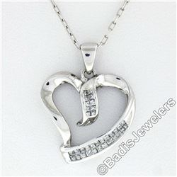 10kt White Gold 0.25 ctw Dual Channel Princess Cut Diamond Open Heart Pendant Ne