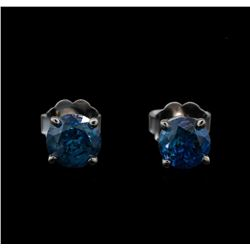 14KT White Gold 0.97 ctw Fancy Blue Diamond Stud Earrings