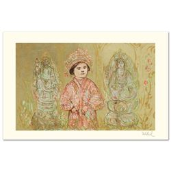 """""""Willie and Two Quan Yins"""" Limited Edition Lithograph by Edna Hibel (1917-2014),"""