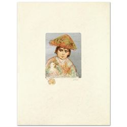 """""""Boy with Chicken"""" Limited Edition Lithograph by Edna Hibel (1917-2014), Numbere"""