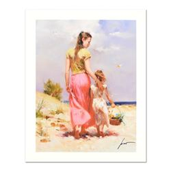 """Pino (1939-2010) """"Seaside Walk"""" Limited Edition Giclee. Numbered and Hand Signed"""