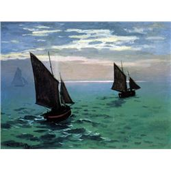Claude Monet - Le Havre - Exit the Fishing Boats from the Port