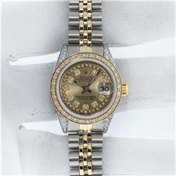 Rolex Ladies 2 Tone Champagne Diamond Lugs Datejust Wristwatch With Rolex Box