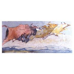 """Edwin Salomon, """"Stampede"""" Hand Signed Limited Edition Serigraph with Letter of A"""