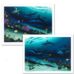 """""""Radiant Reef"""" Limited Edition Giclee Diptych on Canvas by Wyland, Numbered and"""