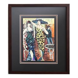 "Patricia Govezensky, ""Alexia & Aline"" Framed Original Watercolor with Letter of"