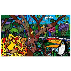 "Romero Britto ""Amazon Mini"" Hand Signed Giclee on Canvas; Authenticated"