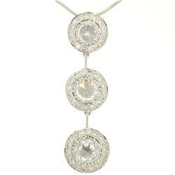 Vintage 18K White Gold 2.59 ctw 3 Rose Cut Diamond Drop Pendant w/ Triple Halo