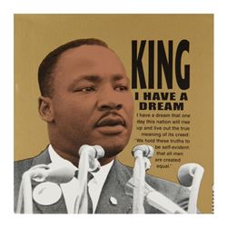 "Steve Kaufman (1960-2010), ""MLK"" Limited Edition Hand Pulled Silkscreen on Canva"