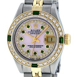 Rolex Ladies 2 Tone MOP Diamond & Emerald Oyster Perpetual Datejust Wristwatch