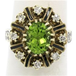 Vintage 14K Yellow Gold 2.43 ctw Oval Peridot Diamond & Black Enamel Halo Ring