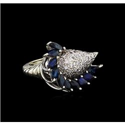 14KT White Gold 1.90 ctw Sapphire and Diamond Ring