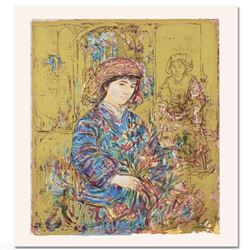 """""""Umbria's Garden"""" Limited Edition Serigraph by Edna Hibel (1917-2014), Numbered"""
