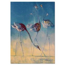 """Edwin Salomon, """"Blue Birds"""" Hand Signed Limited Edition Serigraph with Letter of"""