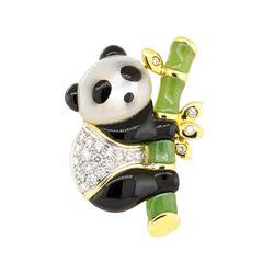 0.30 ctw Diamond Panda Pin - 14KT Yellow Gold