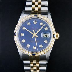 Rolex Mens 2 Tone Blue Diamond & Sapphire Oyster Perpetual Datejust Wriswatch 36