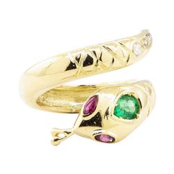 0.66 ctw Emerald, Ruby, and Diamond Snake Ring - 14KT Yellow Gold