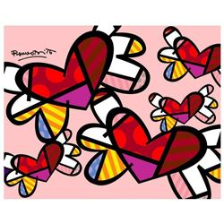"Romero Britto ""Love Is In The Air Mini"" Hand Signed Giclee on Canvas; Authentica"