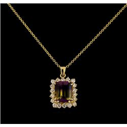 3.71 ctw Ametrine and Diamond Pendant With Chain