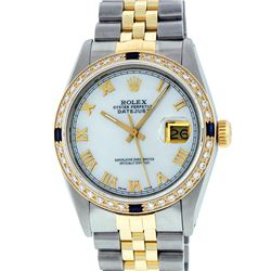 Rolex Mens 2 Tone Mother Of Pearl Diamond & Sapphire 36MM Datejust Wristwatch