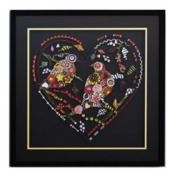 "Patricia Govezensky, ""Love Birds XII"" Framed Original Painting on Laser Cut Stee"