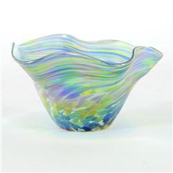 "Glass Eye Studios, ""Mini Wave Bowl (Bonnet Twist)"" Hand Blown Glass Sculpture (S"