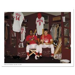 """""""Pete Rose & Morgan in Clubhouse"""" Archival Photograph Autographed by Pete Rose a"""