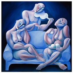 """Yuroz, """"The Light Blue Couch"""" Hand Signed Limited Edition Serigraph on Canvas wi"""