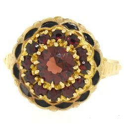 Vintage 14k Yellow Gold 1.5 ctw Round Garnet & Black Enamel Champleve Flower Rin