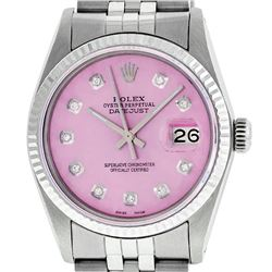 Rolex Ladies 2 Tone Pink MOP Diamond & Sapphire String Datejust Wristwatch